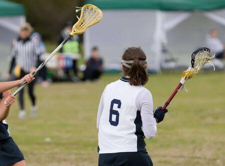 Lacrosse players on the field Standard-Bild