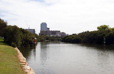 Parramatta River and Parramatta City Standard-Bild