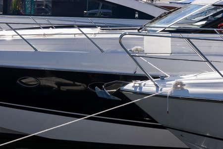 Moored luxury boats in a marina Reklamní fotografie
