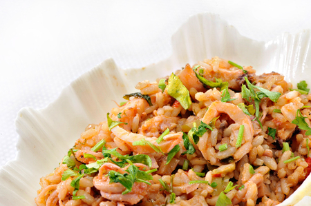 Rice with squids Stock Photo