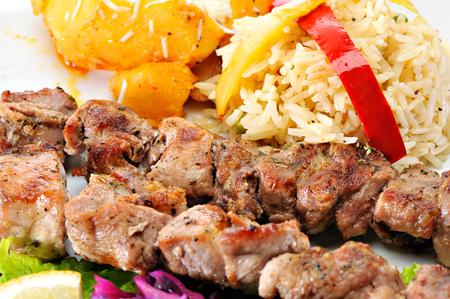 Greek Souvlaki with rice Zdjęcie Seryjne