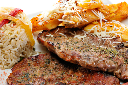 Grilled stakes with rice