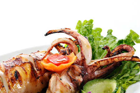 Grilled squids Stock Photo