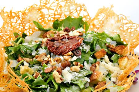 Rocca Salad in cheese bowl