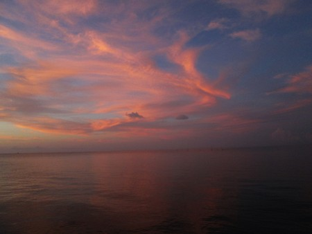 Red clouds in sunset over Pamlico Sound
