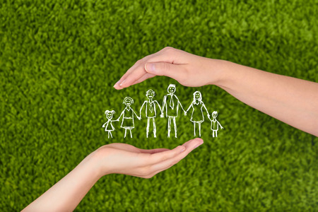 .Family life insurance, protecting family, family concepts. 写真素材