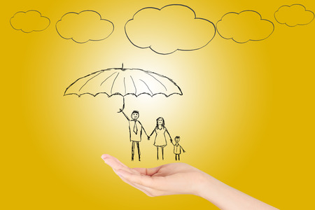 Family life insurance, Property insurance and security concept, Protecting. Open hand making a protection gesture isolated on yellow background. Stok Fotoğraf