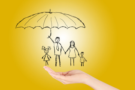 Family life insurance, Property insurance and security concept, Protecting. Open hand making a protection gesture isolated on yellow background. Standard-Bild