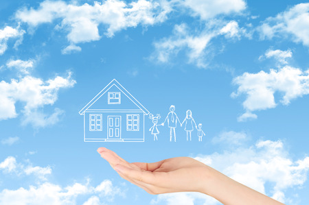 home life: Property insurance and security concept, Family life insurance, protecting family, family concepts.