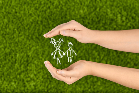 protection hands: Protecting children concept