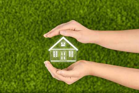 protection hands: Property insurance and security concept.