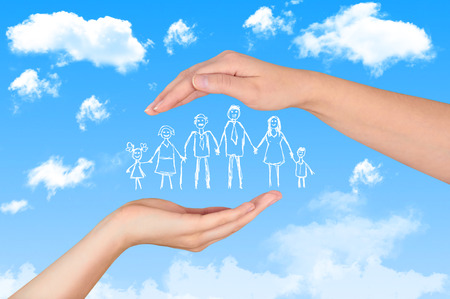 Family life insurance, protecting family, family concepts. Stockfoto