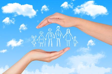 Family life insurance, protecting family, family concepts. Foto de archivo