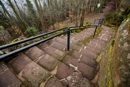 Stairs path in the forest for hickers.A staircase path in a densely wooded area in Mont-Sainte-Odile,Strasbourg,France. Stock Photo