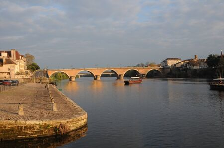 aquitaine: Bridge over the river Dordogne Bergerac Aquitaine France at sunset