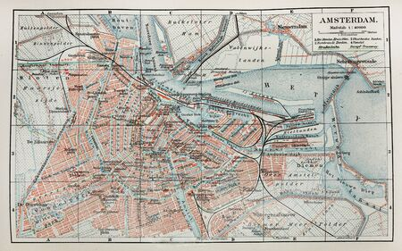 19th century old map of Amsterdam city photo