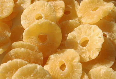 suitable: Dried pineapple slices  suitable for background.