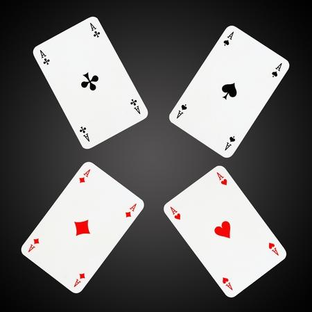 as de picas: As jugando a las cartas aislados en negro-gris de fondo Foto de archivo