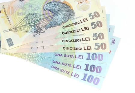 lei: Romanian money banknotes lei isolated on white Stock Photo