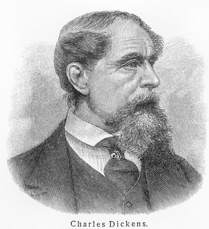 dickens: Charles Dickens ; Picture from Meyer lexicon book edition 1905-1909
