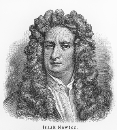 Isaac Newton ; Picture from Meyer lexicon book edition 1905-1909