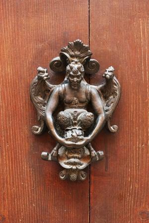knocker: Vintage door knocker on a wooden door detail