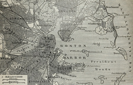 paper textures: Old map of Boston harbor Stock Photo