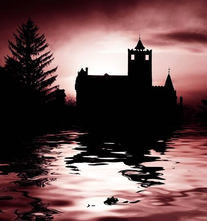 Scary castle and lake photo