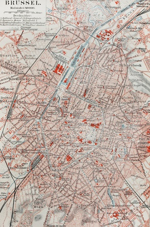19th century: Old map of Brussels from the end of 19th century  Stock Photo