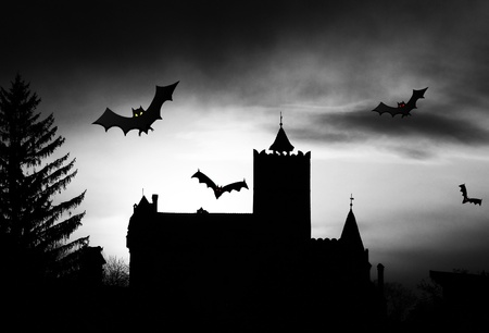 bran: Dracula Castle silhouette  Stock Photo