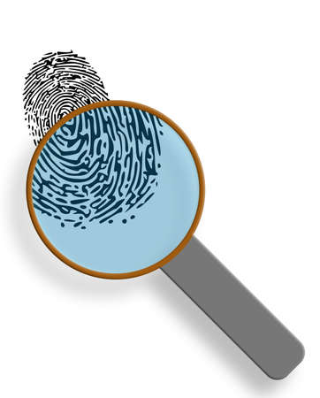 magnification: Fingerprint under magnification glass