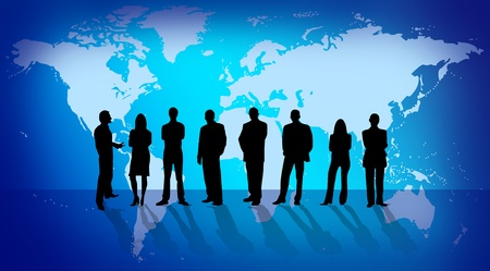 Business silhouette people over world map