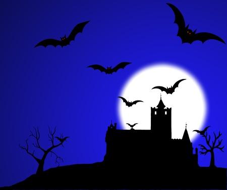 horror castle: Castillo de Dr�cula murci�lagos ilustraci�n