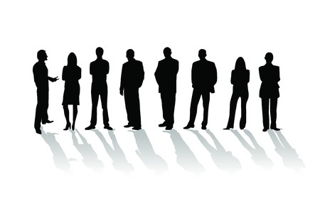 forward: Business people silhouette Stock Photo