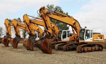 Excavators at workplace