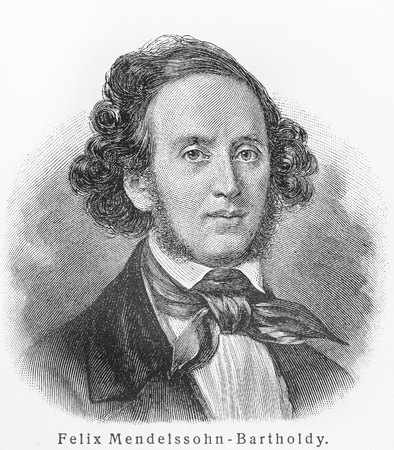 19th century: Felix Mendelssohn - Picture from Meyers Lexicon books written in German language. Collection of 21 volumes published between 1905 and 1909.  Editorial