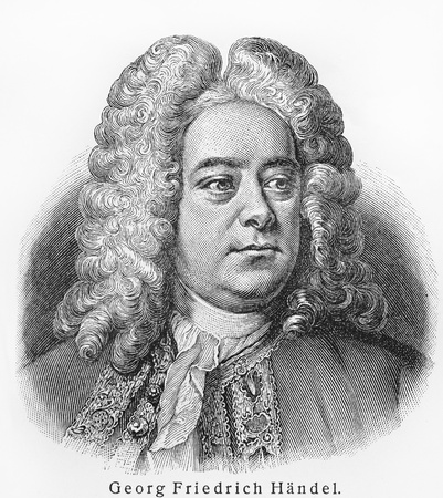 composer: Georg Friedrich Handel - Picture from Meyers Lexicon books written in German language. Collection of 21 volumes published between 1905 and 1909.