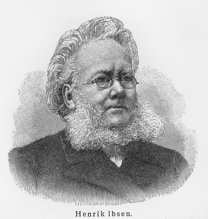 lexicon: Henrik Ibsen - Picture from Meyers Lexicon books written in German language. Collection of 21 volumes published between 1905 and 1909.