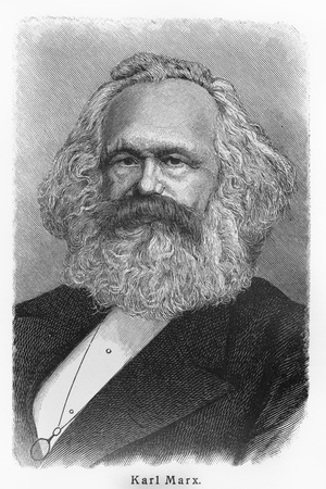 sociologist: Karl Heinrich Marx - Picture from Meyers Lexicon books written in German language. Collection of 21 volumes published between 1905 and 1909.  Editorial