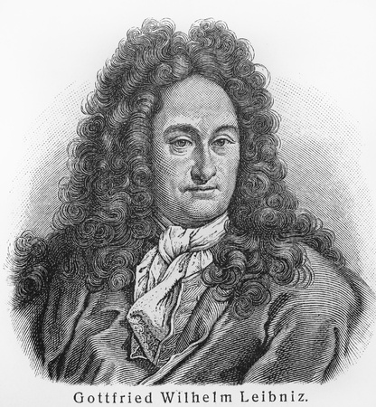 mathematician: Gottfried Leibniz - Picture from Meyers Lexicon books written in German language. Collection of 21 volumes published between 1905 and 1909.