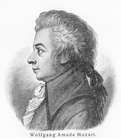 of mozart: Wolfgang Amadeus Mozart - Picture from Meyers Lexicon books written in German language. Collection of 21 volumes published between 1905 and 1909.