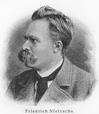 19th century: Friedrich Nietzsche - Picture from Meyers Lexicon books written in German language. Collection of 21 volumes published  between 1905 and 1909.