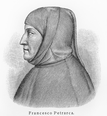 Francesco Petrarca Petrarch - Picture from Meyers Lexicon books written in German language. Collection of 21 volumes published between 1905 and 1909.  Stock Photo - 11259825