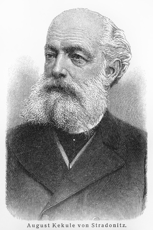 August Kekule Stradonitz - Picture from Meyers Lexicon books written in German language. Collection of 21 volumes published  between 1905 and 1909.