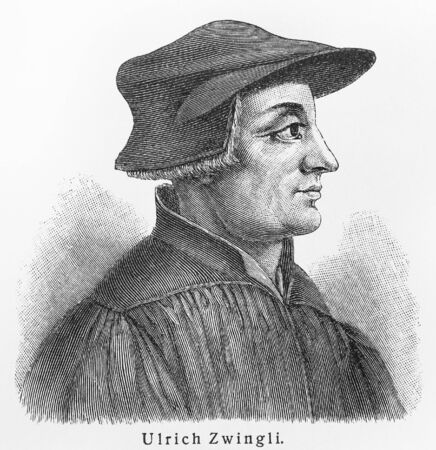Huldrych ( Ulrich) Zwingli - Picture from Meyers Lexicon books written in German language. Collection of 21 volumes published  between 1905 and 1909.