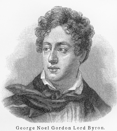 byron: Lord Byron - Picture from Meyers Lexicon books written in German language. Collection of 21 volumes published  between 1905 and 1909.