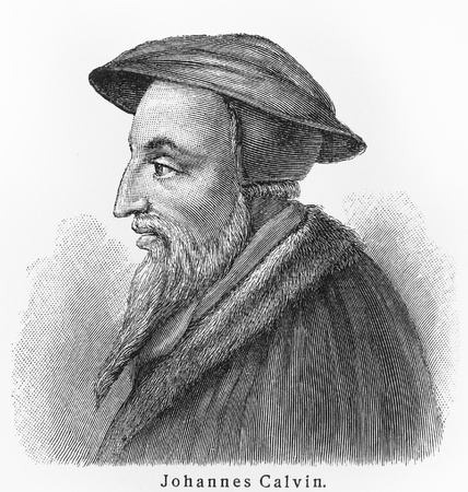 John Calvin - Picture from Meyers Lexicon books written in German language. Collection of 21 volumes published  between 1905 and 1909.