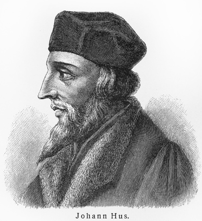 lexicon: Jan Hus - Picture from Meyers Lexicon books written in German language. Collection of 21 volumes published  between 1905 and 1909.