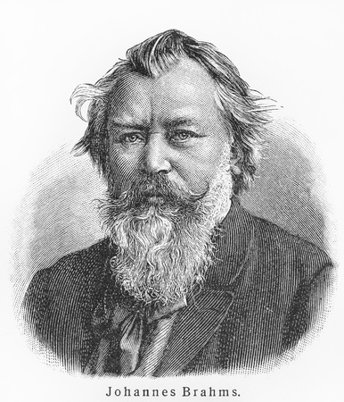 composer: Johannes Brahms - Picture from Meyers Lexicon books written in German language. Collection of 21 volumes published between 1905 and 1909.  Editorial