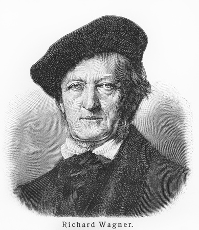 composer: Richard Wagner - Picture from Meyers Lexicon books written in German language. Collection of 21 volumes published between 1905 and 1909.